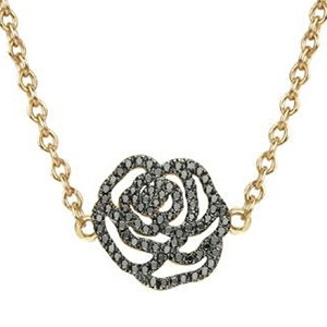 Collier Rose Or Jaune et Diamants Noirs de Vanessa Tugendhaft