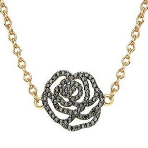 Collier Rose Or Jaune et Diamants Noirs de Vanessa Tugendhaft