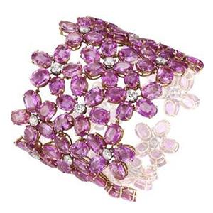 Manchette Red Carpet en Or Blanc Saphirs Diamants Chopard