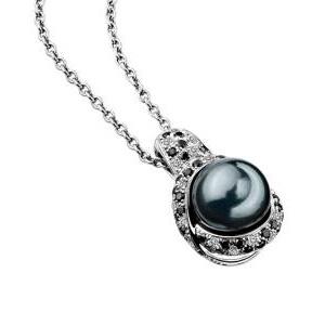 Pendentif Perle Caviar Or Blanc Perle Grise Diamants Mauboussin