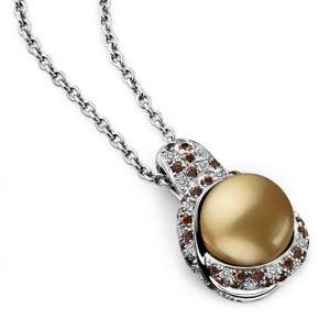 Pendentif Perle Gold Or Blanc Diamants Cognac Mauboussin