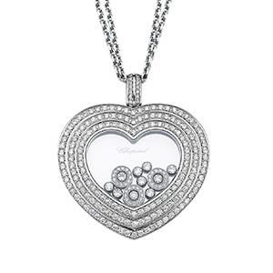 Pendentif Coeur Or Blanc Pavage et Diamants Mobiles Chopard