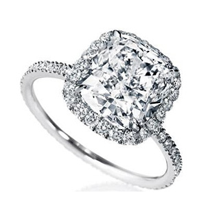 Solitaire Platine Diamant Coussin Pavage Diamants Harry Winston