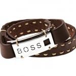 Bracelet Buckle collection Boss Orange. Cuir piqué et plaque de métal poli.