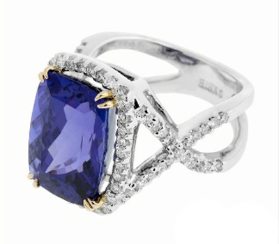 Bague tanzanite et Diamants de Birks