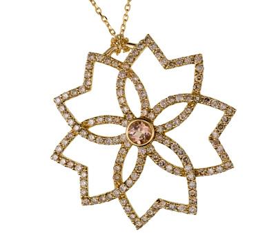 Pendentif Collection Nuptial, Diamants bruns et Topaze.