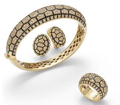 Collection Tortue, Or jaune, Diamants bruns, émail