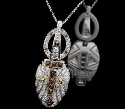 Pendentif De Beers Amulets, Diamants et Or Blanc.
