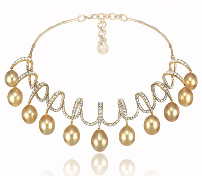 Collier Chopard Joaillerie Or, Perles Gold, Diamants.