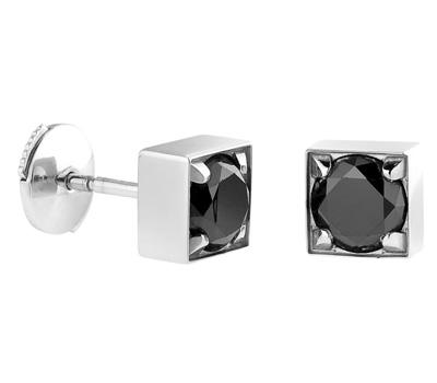 Boucles d'Oreilles Diamants Noir Homme - Diamee.