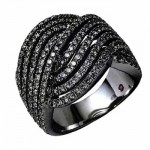 Bague Diamants Noirs Glam Rock - Eternamé Joaillerie.