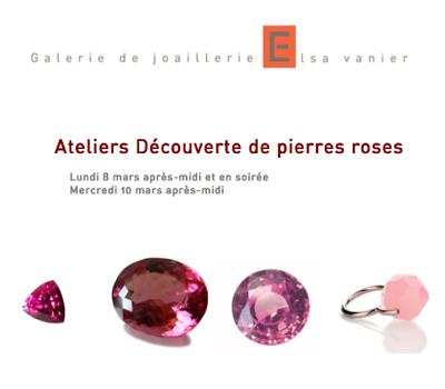 Atelier Pierres Roses à la Galerie Bijoux d'Elsa Vanier.