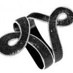 Bracelet AS29 Double 8 Tanagra Diamants Noirs et Blancs.