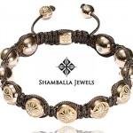 Bracelet Boule Or Rose et Cordon Soie - Shamballa Jewels.