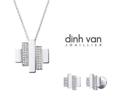 pendentif et boucles d 39 oreilles cadence dinh van or gris et diamants made in joaillerie. Black Bedroom Furniture Sets. Home Design Ideas