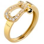 Bague Mini Force 10 Ruban Or Jaune Pavage Diamants - Fred