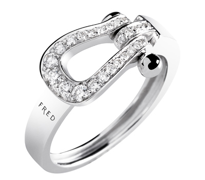 Bague Mini Force 10 Ruban Or Blanc Pavage Diamants - Fred