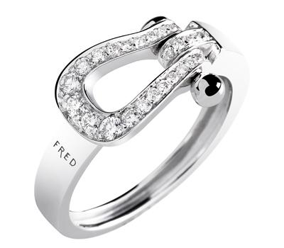 Bague Mini Force 10 Ruban Or Blanc Pavage Diamants - Fred