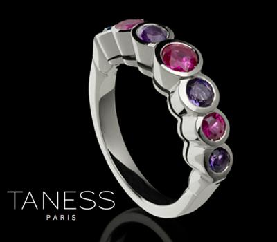 Bague Organon Taness - Bijou Argent, Saphirs Roses, Améthystes