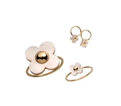 Bijoux Petite Fleur or et nacre - Kidou