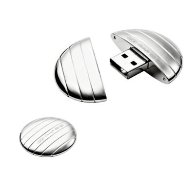 Clé USB Galet argenté - Par Christofle et LaCie
