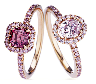 Bagues Solitaires en Or Rose et Diamants Roses - De Beers