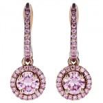 Boucles d'Oreilles Aura en Or Rose et Diamants Roses - De Beers