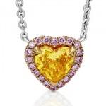Pendentif Diamant Jaune Coeur et Diamants Roses - De Beers