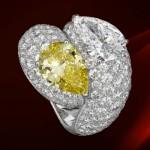 Bague Diamant Jaune Taille Poire par Cartier