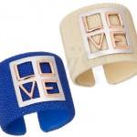 Bracelets Manchettes Bleu et Beige Galuchat