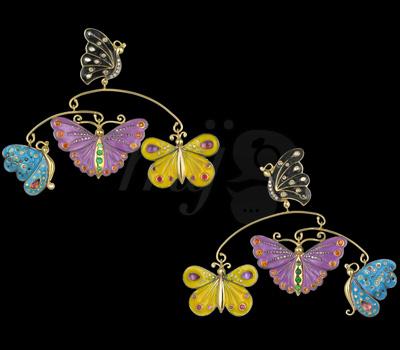Boucles d'Oreilles Papillons - Sylvie Corbelin