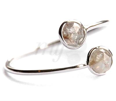 Bague Double Diamant Rose Cut - Perle de Lune