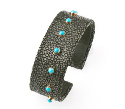 Bracelet Manchette Galuchat et Turquoise - Laetitia Uzan