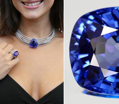 Tanzanite, pierre fine bleue et bijoux
