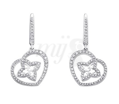 Boucles d'Oreilles Coeur Or Blanc et Diamants - Louis Vuitton