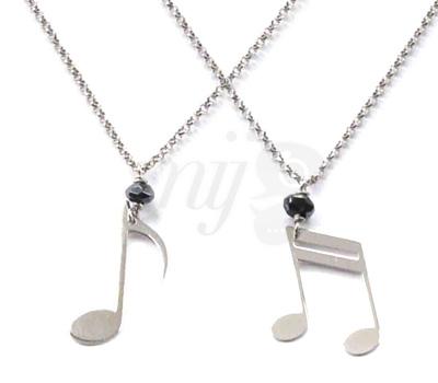 Bijoux Notes de Musique Or Blanc - Perle de Lune