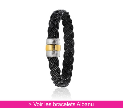 Bracelet cuir tressé noir, or et acier - Albanu sur Belancy.com
