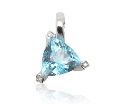 Pendentif Topaze Trion et diamants en or blanc - Gay Frères