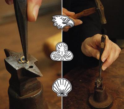 Poincons de l'or - Tête d'aigle, Trèfle et Coquille Saint-Jacques