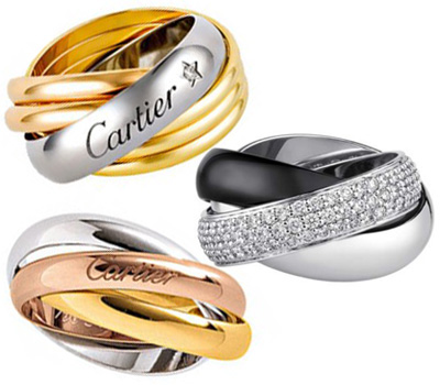 Alliances en platine Trinity de Cartier