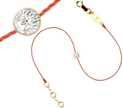 Bracelet avec un diamant sur cordon rouge , Redline