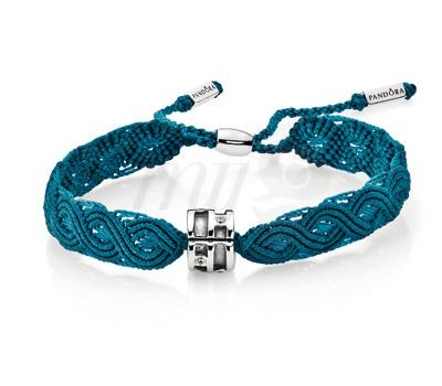Bracelet Macramé Bleu et Argent - Pandora