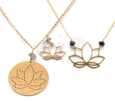 Collier Médaillon Fleur de Lotus - Perle de Lune