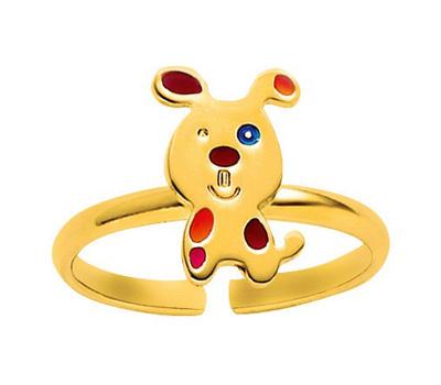 Bague enfant chien en or jaune 18 carats