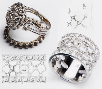 Bague d'un joaillier créateur et transformation d'un bijou