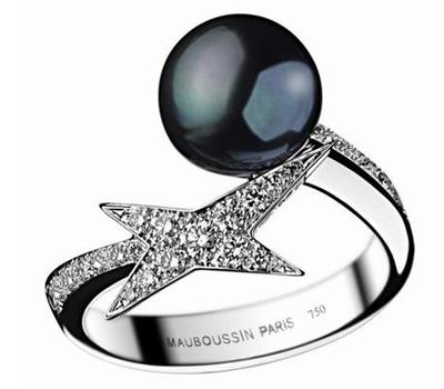 Bague perle de Tahiti et étoile de Mauboussin