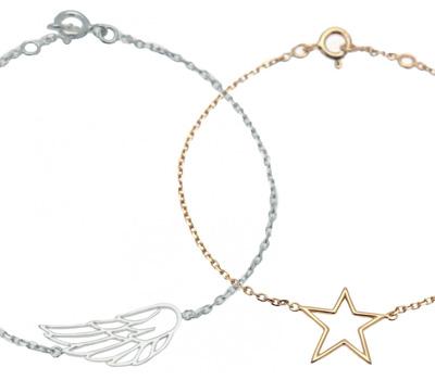 Bracelet argent pour enfant aile et étoile