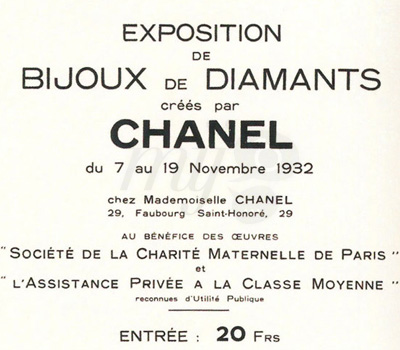 Exposition Bijoux de Diamants - Chanel Joaillerie 1932
