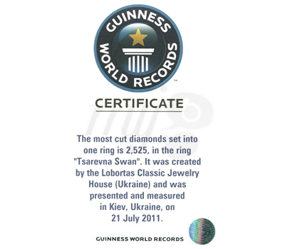 Certificat Guinness des Records Lobortas Bague Swan