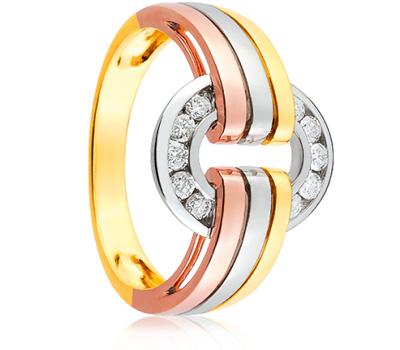 Alliance 3 ors avec des diamants : or blanc, or jaune et or rose.